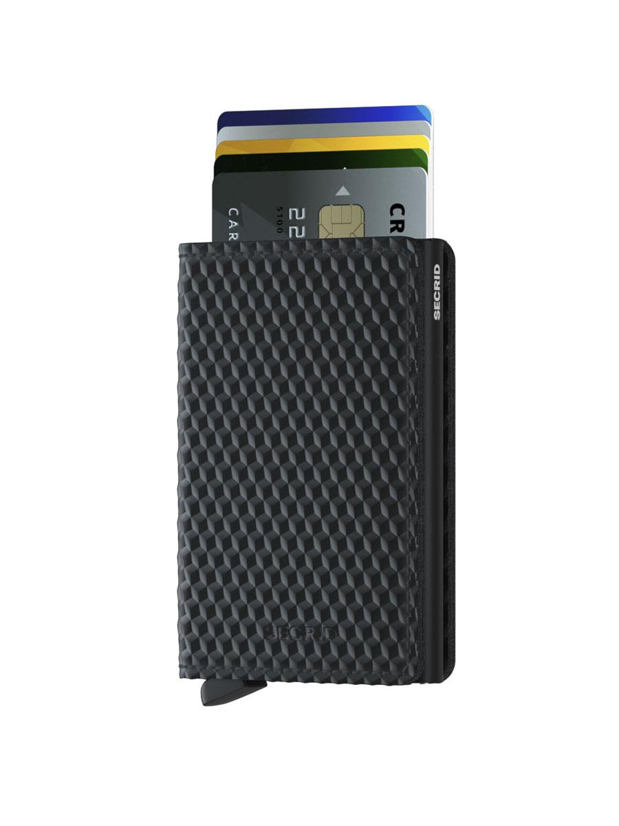 Slimwallet Cubic Black Front cards